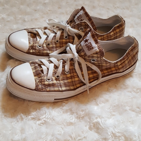 d68c1e8bea48 Converse Shoes - Converse Chuck Taylor All Star tan brown plaid low